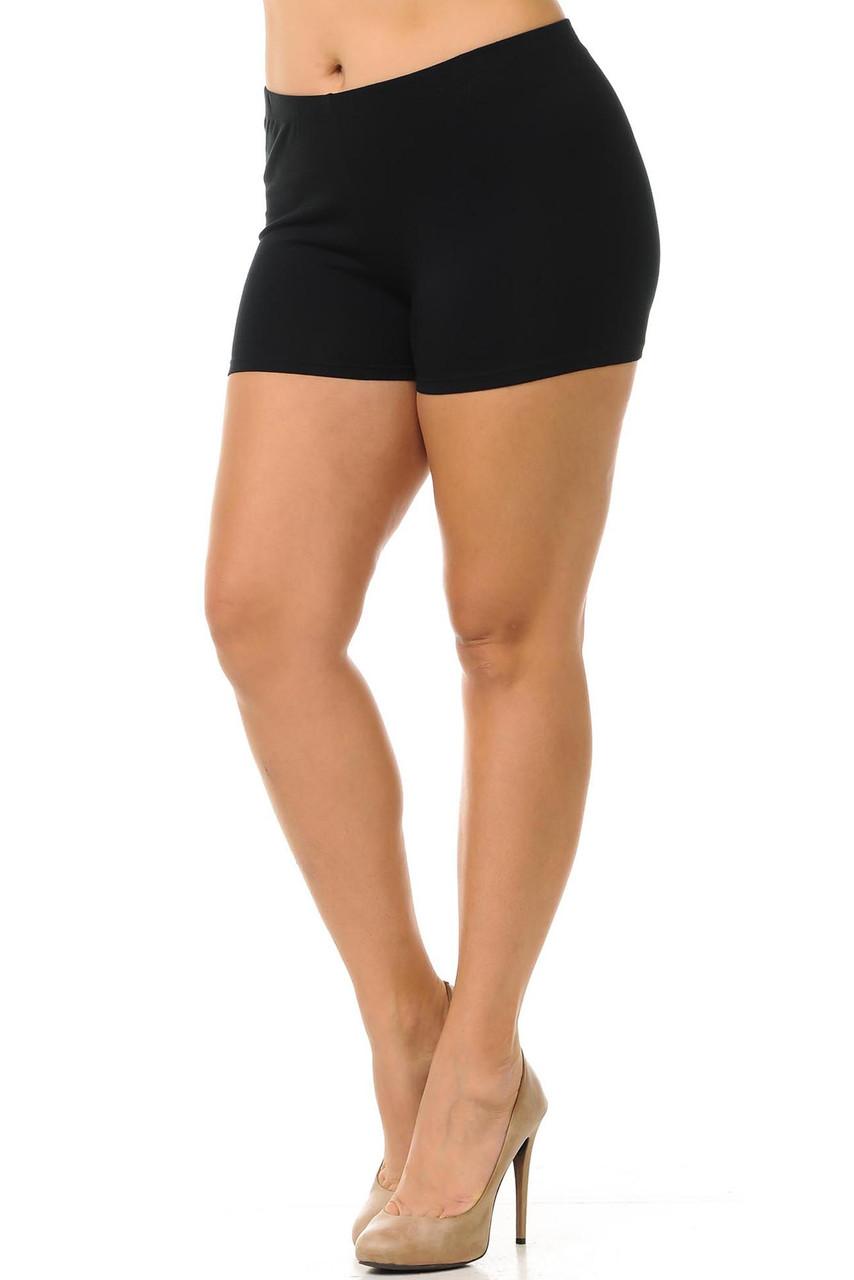 45 degree view of black USA Plus Size Cotton Boy Shorts.
