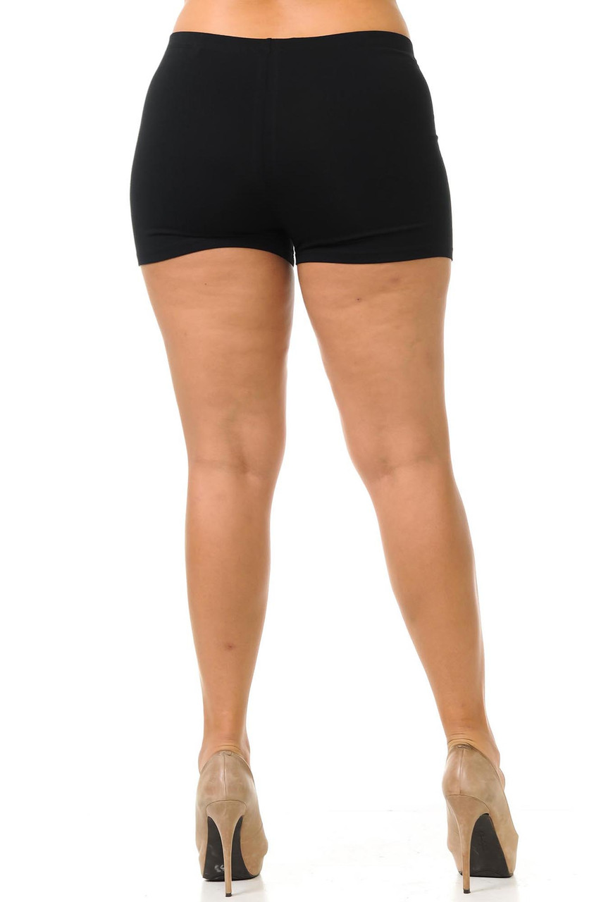 Rear view of made in USA cotton plus size shorts featuring a boy cut length.