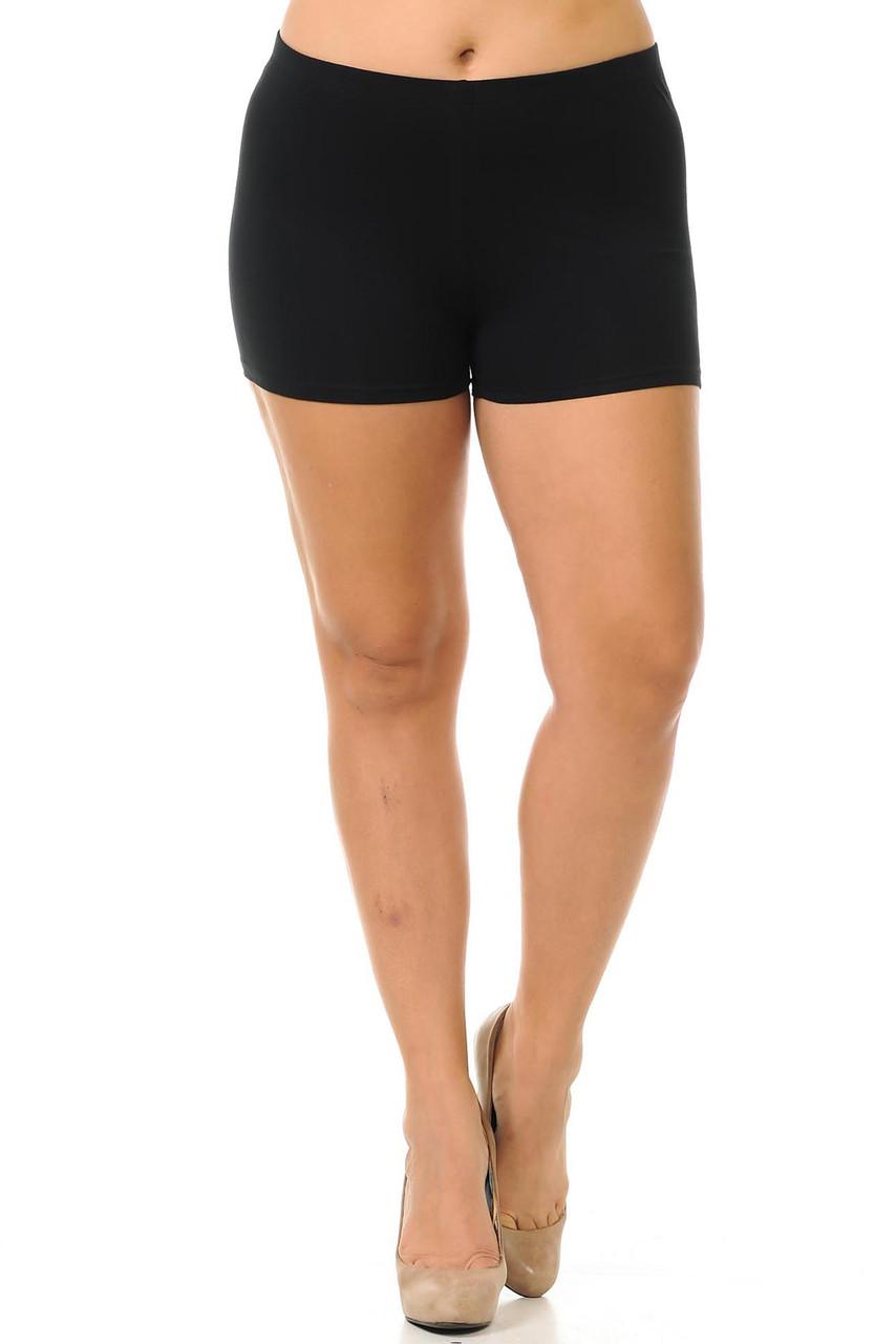 Front view of basic black boy cut cotton shorts for sizes XL-3XL.