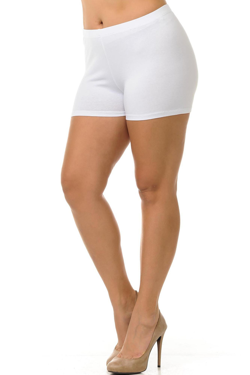 45 degree view of white made in the USA boy cut cotton shorts.