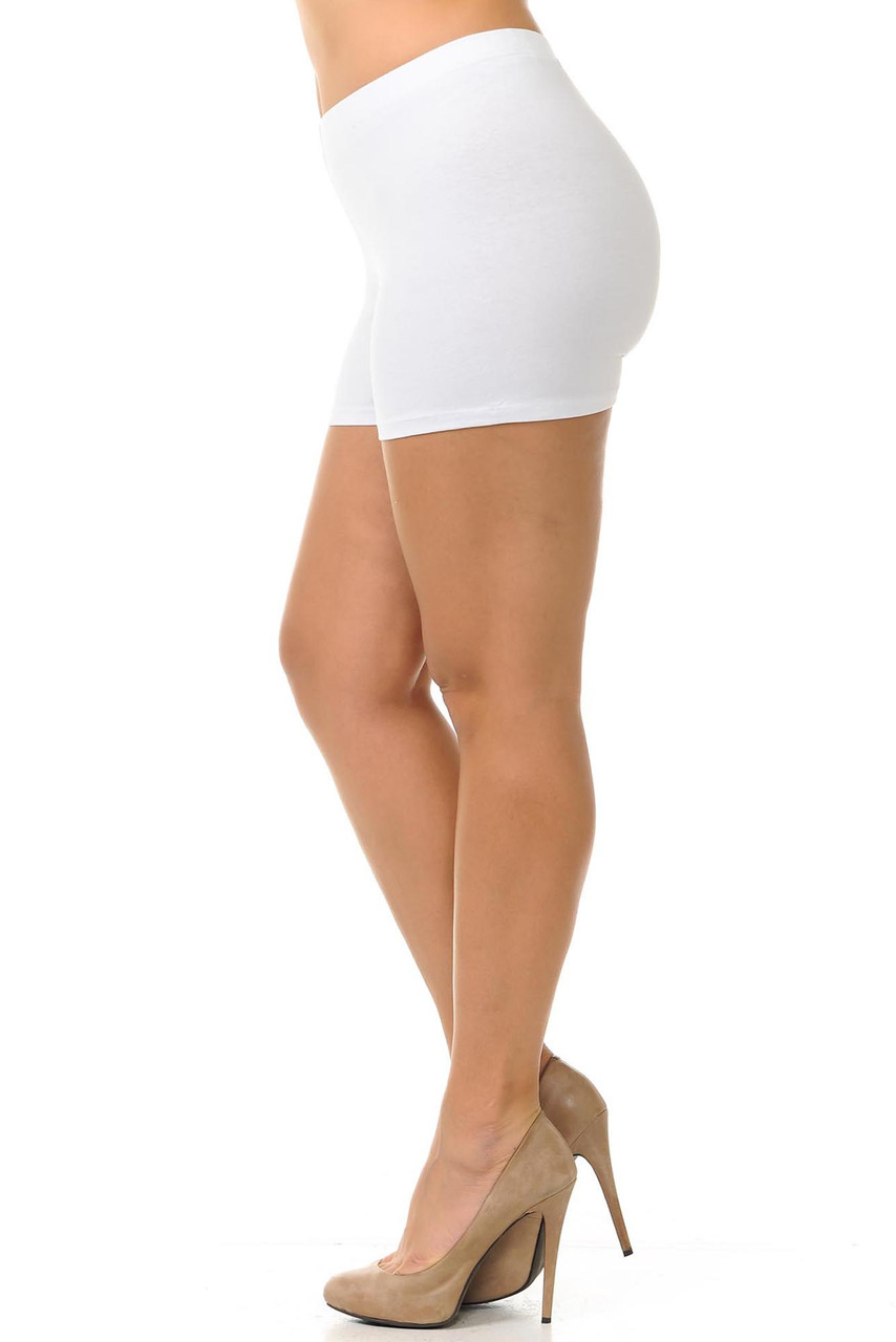 Left side view of plus size made in the USA cotton boy shorts in white.