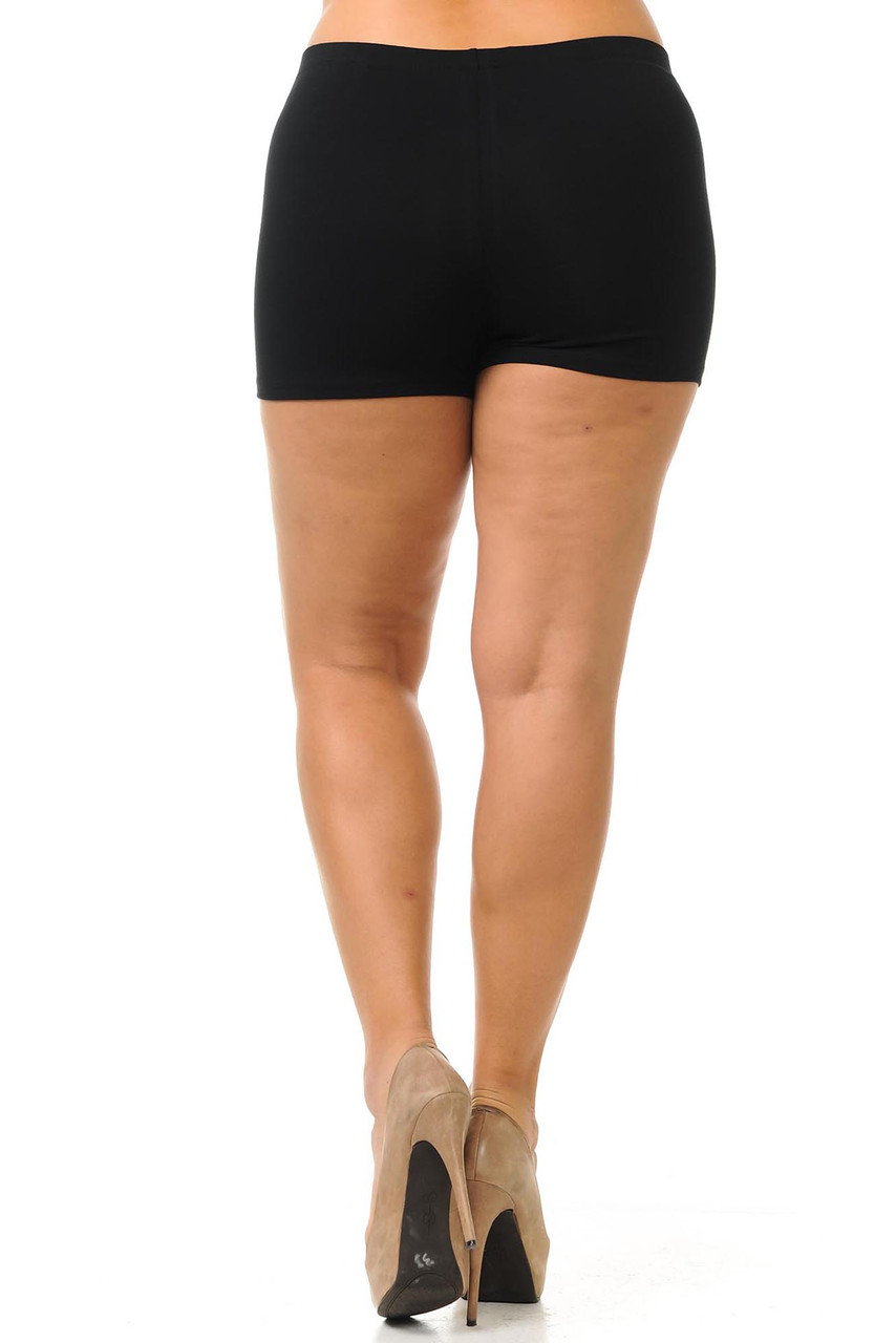 Rear view of body fitting basic made in the USA plus size cotton shorts.