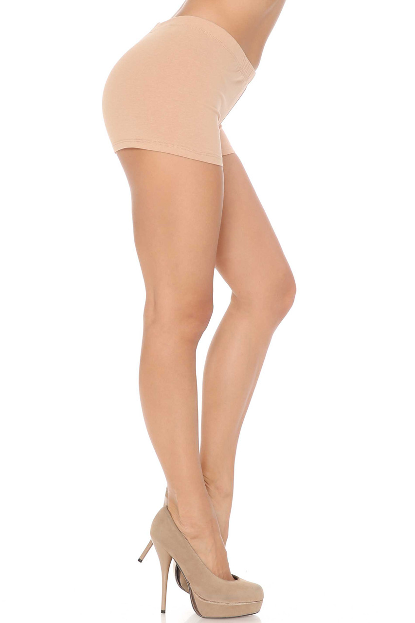 Right view of Beige Boy Short Length Cotton Shorts - Made in USA
