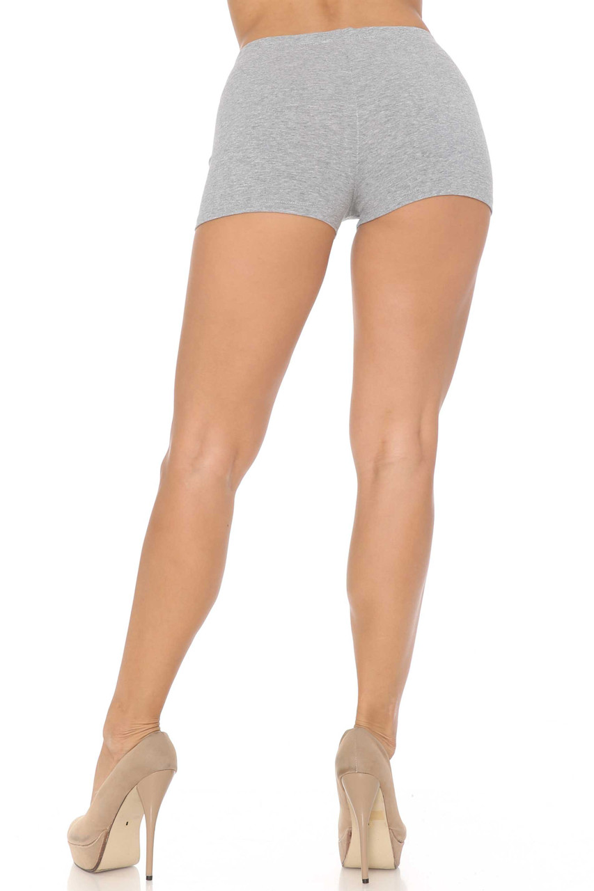 Rear view image of Heather Gray Boy Length USA Cotton Shorts