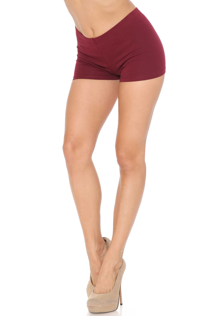 Left view of Burgundy Boy Length Made in USA Cotton Shorts