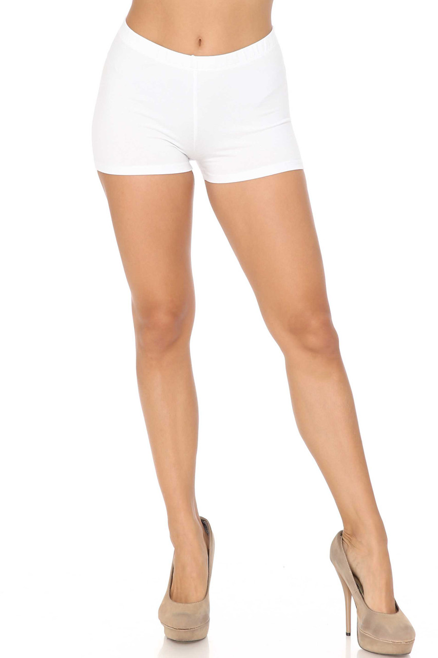 Front view of White Cotton Made in the USA Boy Shorts