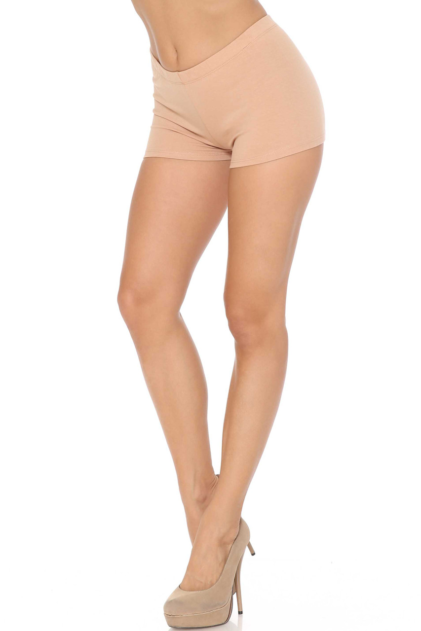 Left view of Beige Boy Short Length Cotton Shorts - Made in USA