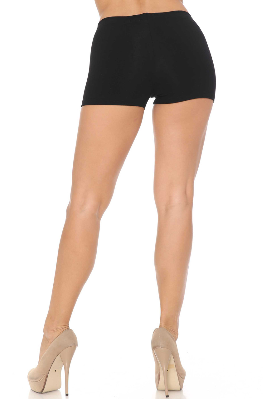 Rear view image of Black Boy Length USA Cotton Shorts