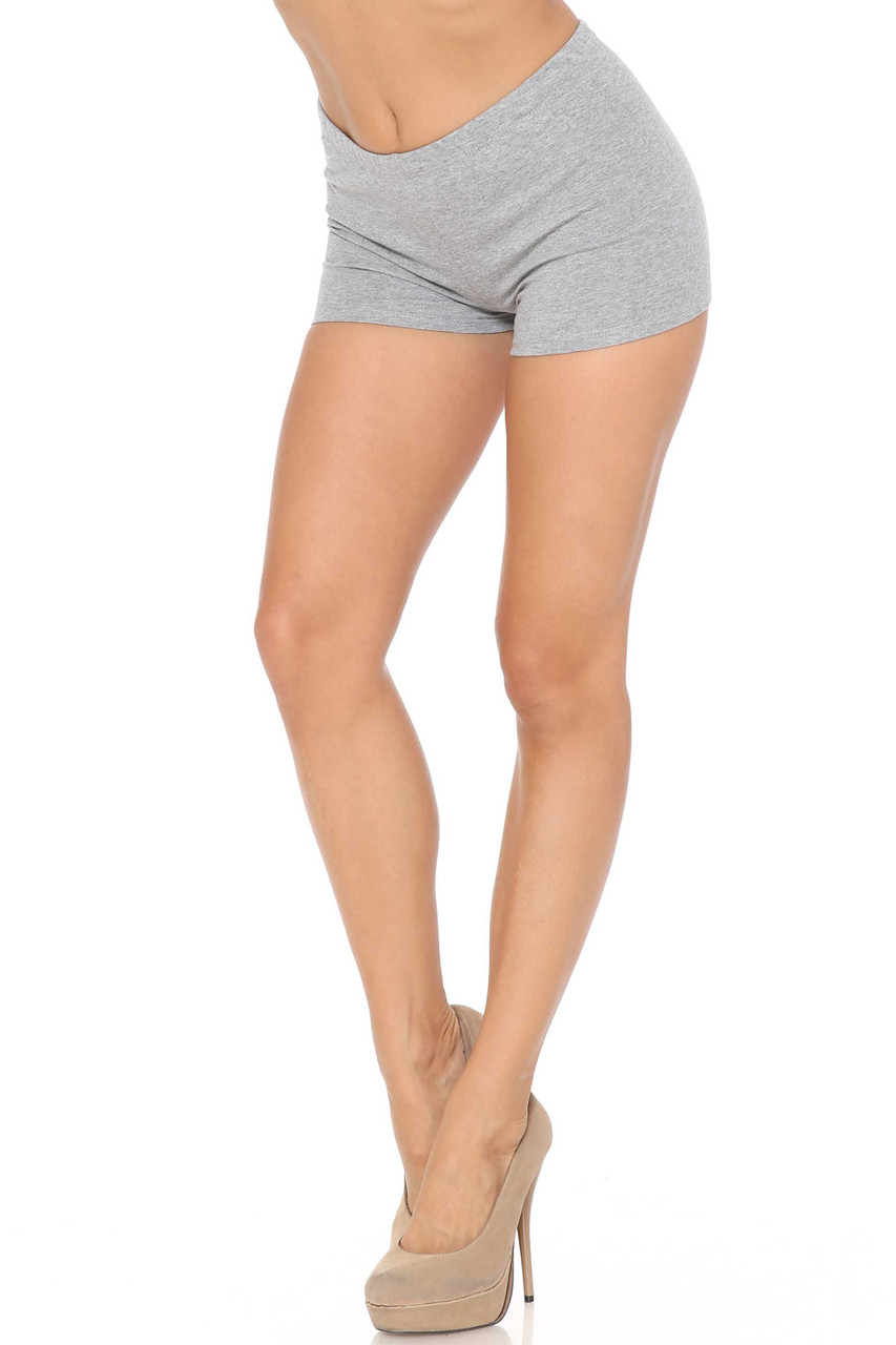 Left side of Heather Gray Made in USA Cotton Boy Length Shorts