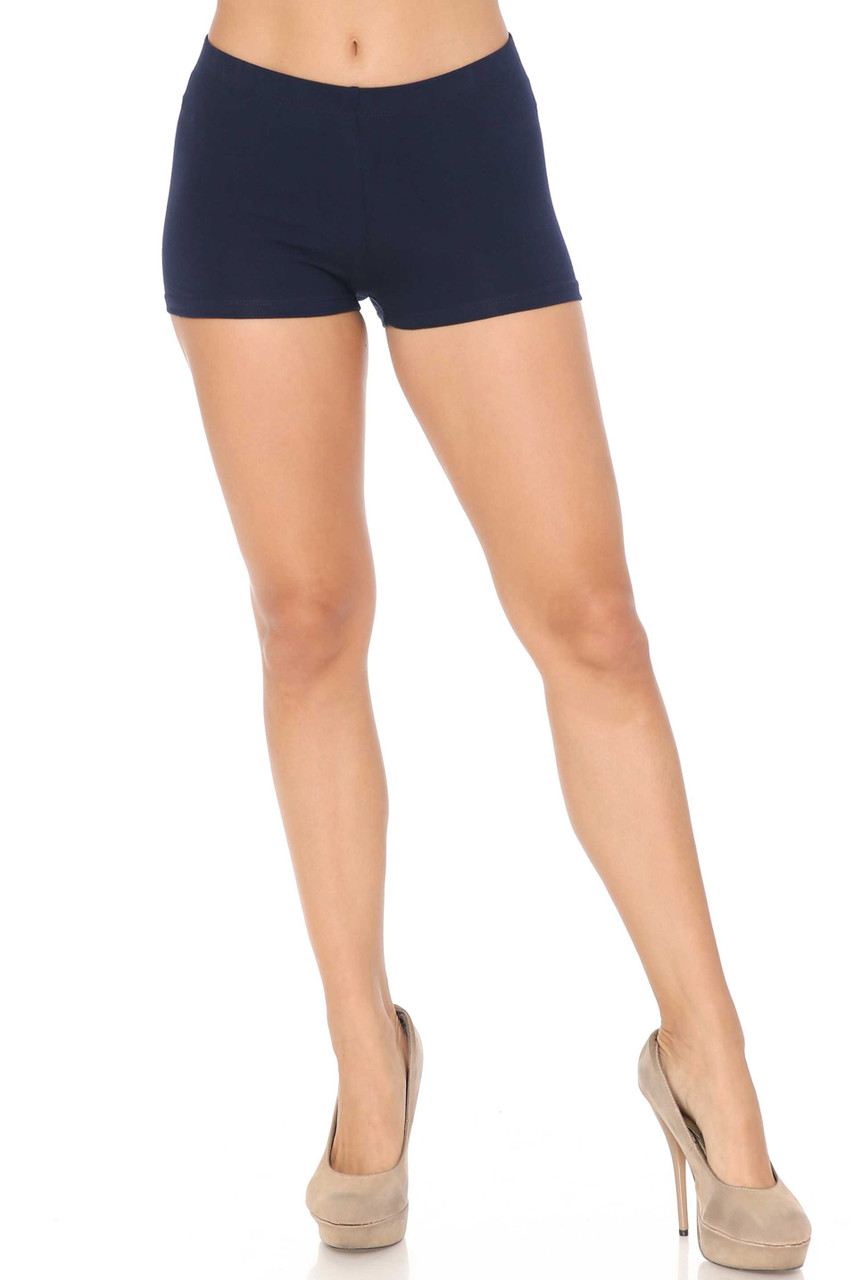 Front image of Navy Cotton Boy Shorts - Made in USA
