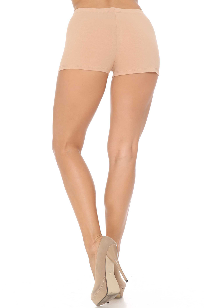 Rear view image of Beige Boy Length USA Cotton Shorts