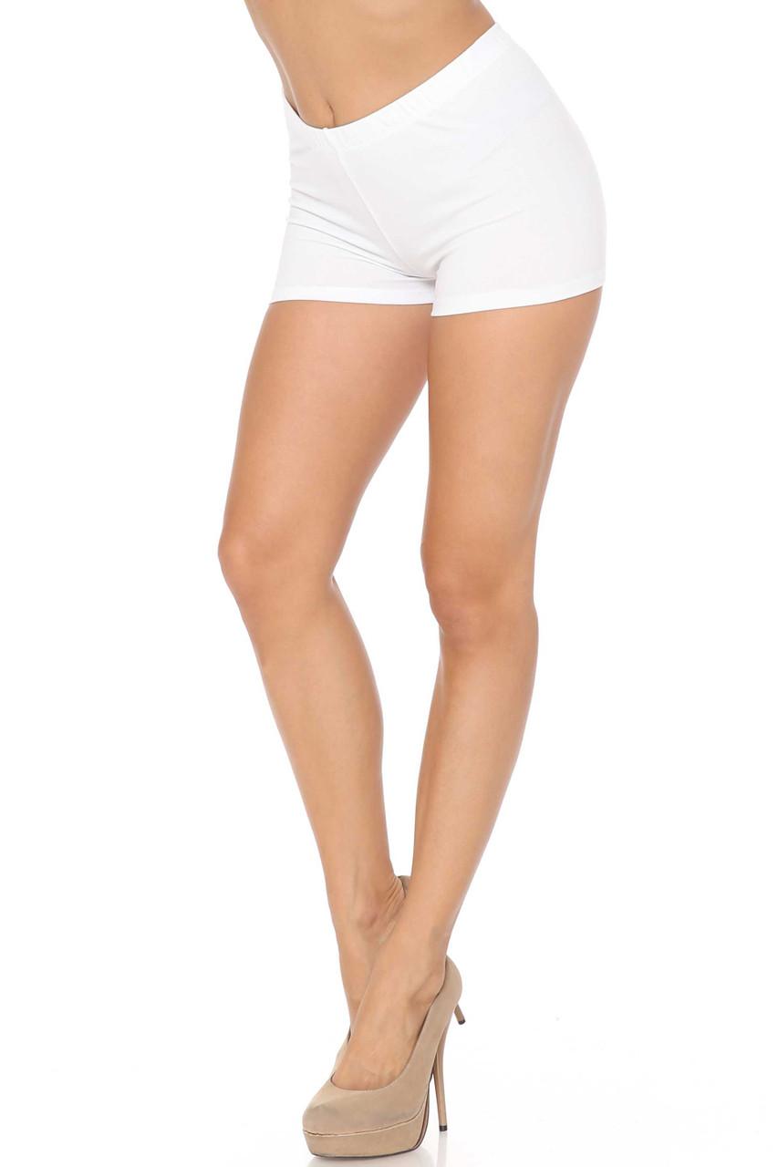 Left side of White USA Made Boy Length Shorts