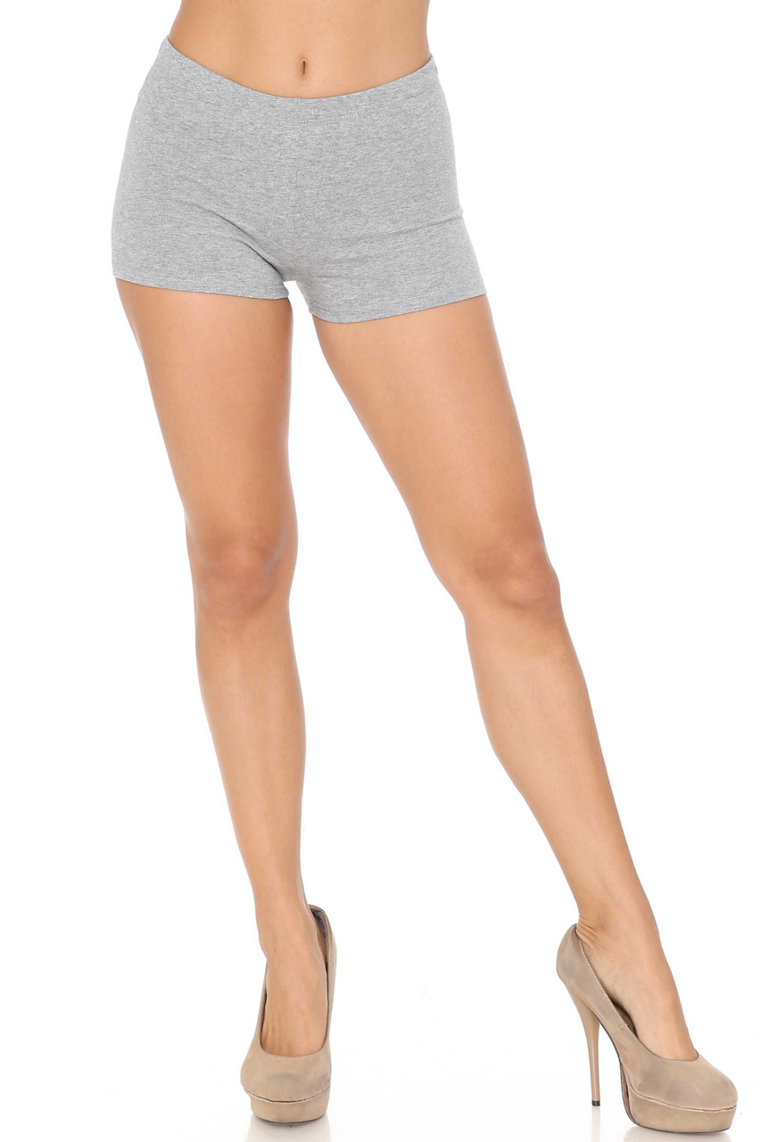 Front image of Heather Gray USA Cotton Boy Shorts