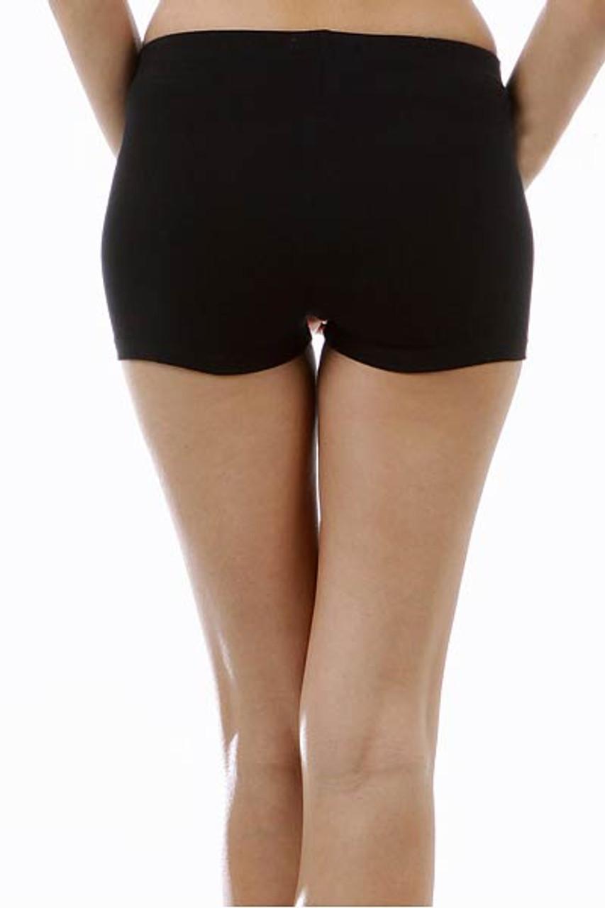 Close up Back side image of Black USA Cotton Boy Shorts