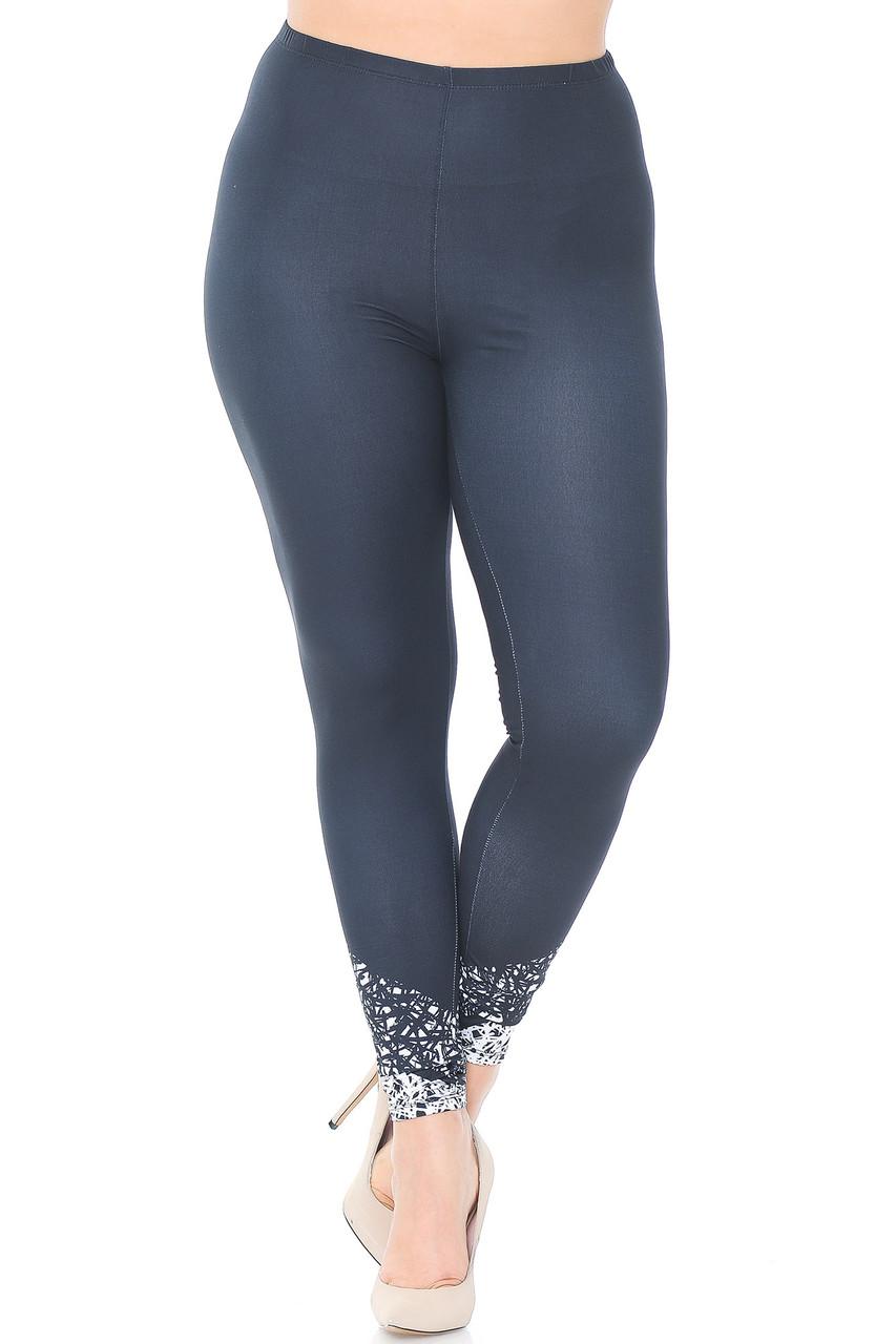 Creamy Soft Ebony Escapade Plus Size Leggings - USA Fashion™