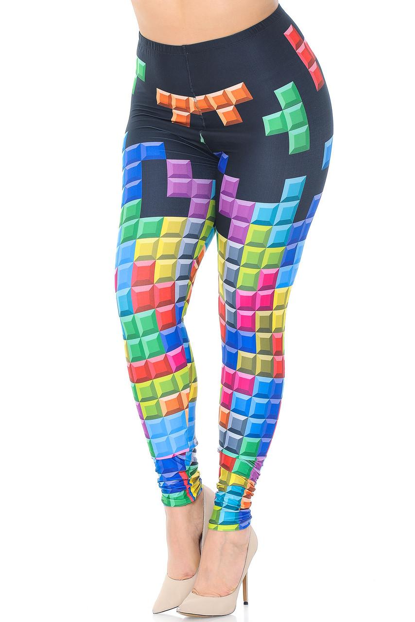 Creamy Soft Tetris Extra Plus Size Leggings - 3X-5X