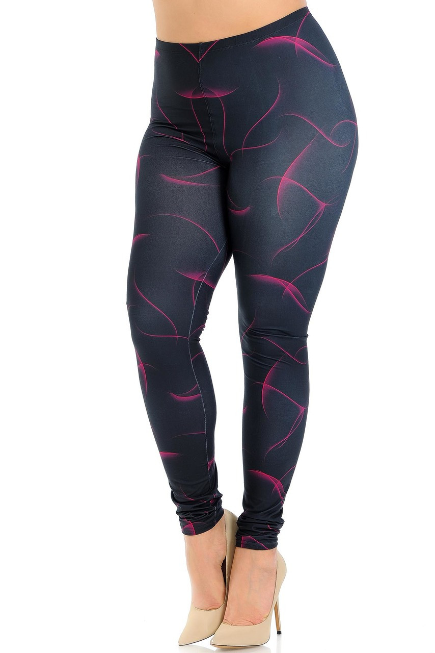 Creamy Soft Fuchsia Mist Extra Plus Size Leggings - 3X-5X - USA Fashion™