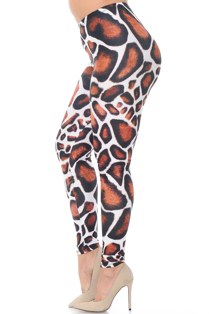 Left side of Creamy Soft Giraffe Print Plus Size Leggings - USA Fashion™