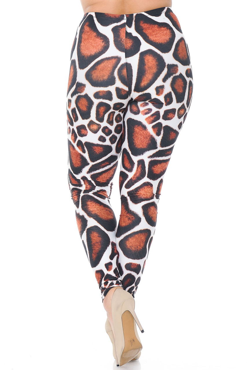 Rear view of Creamy Soft Giraffe Print Extra Plus Size Leggings - 3X-5X - USA Fashion™ showing the flattering body-fitted look.