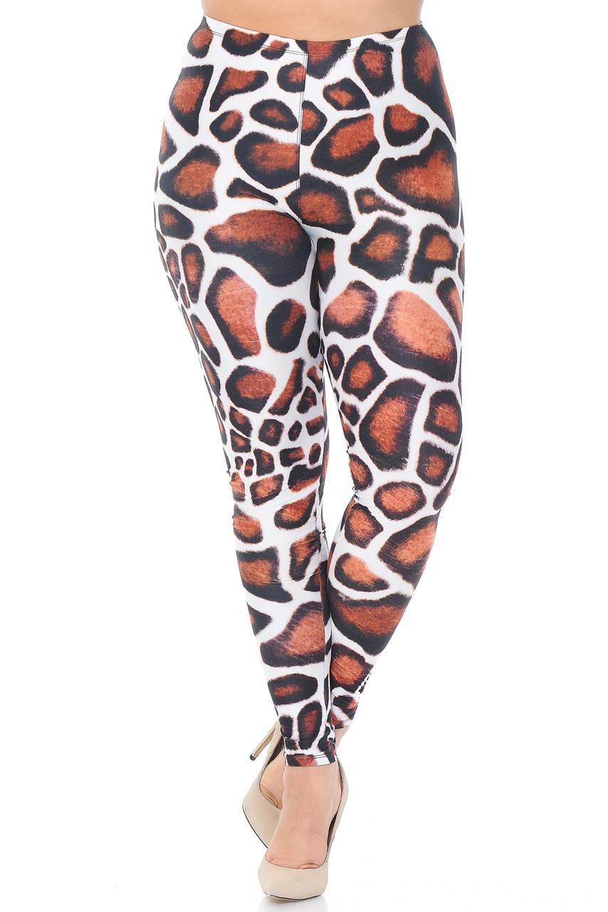 Front view of Creamy Soft Giraffe Print Extra Plus Size Leggings - 3X-5X - USA Fashion™ with a full length hem and mid rise waist.