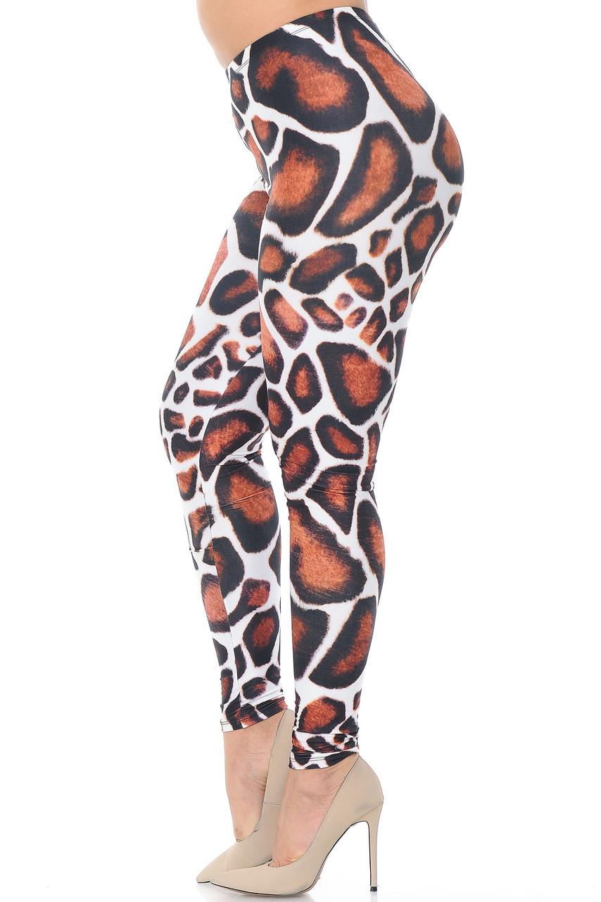 Left side of Creamy Soft Giraffe Print Extra Plus Size Leggings - 3X-5X - USA Fashion™