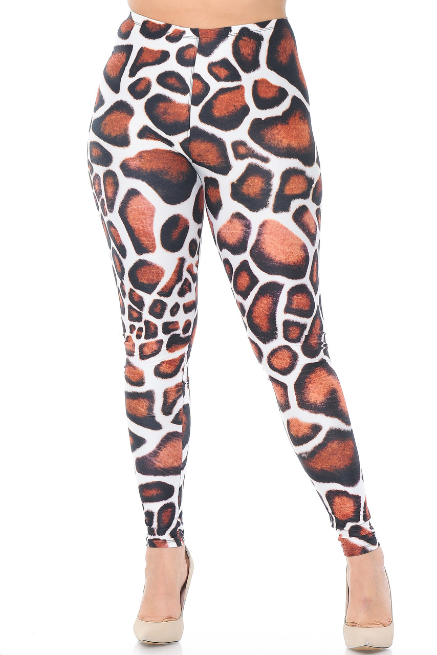 Front of Creamy Soft Giraffe Print Extra Plus Size Leggings - 3X-5X - USA Fashion™ with a skinny leg fit.
