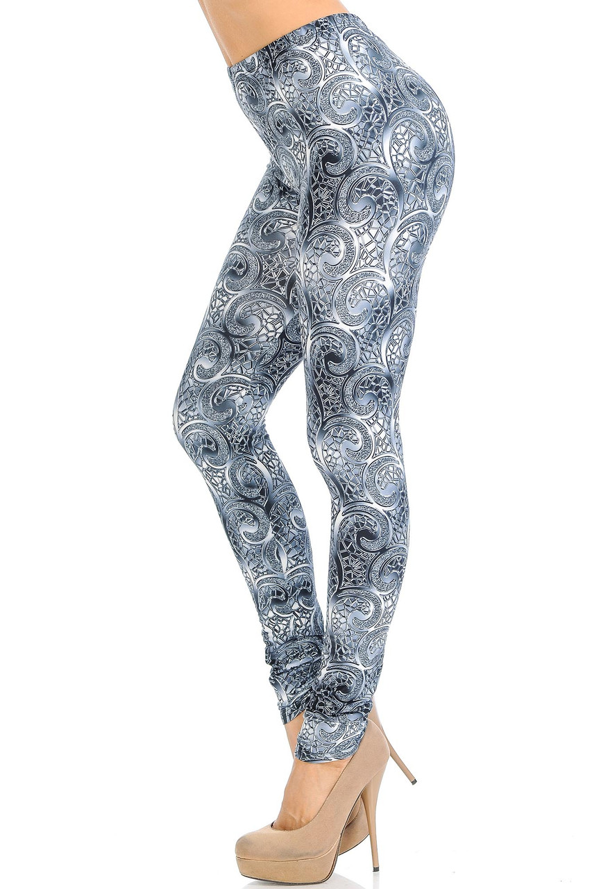 Left side of Creamy Soft Swirling Crystal Glass Extra Small Leggings - USA Fashion™