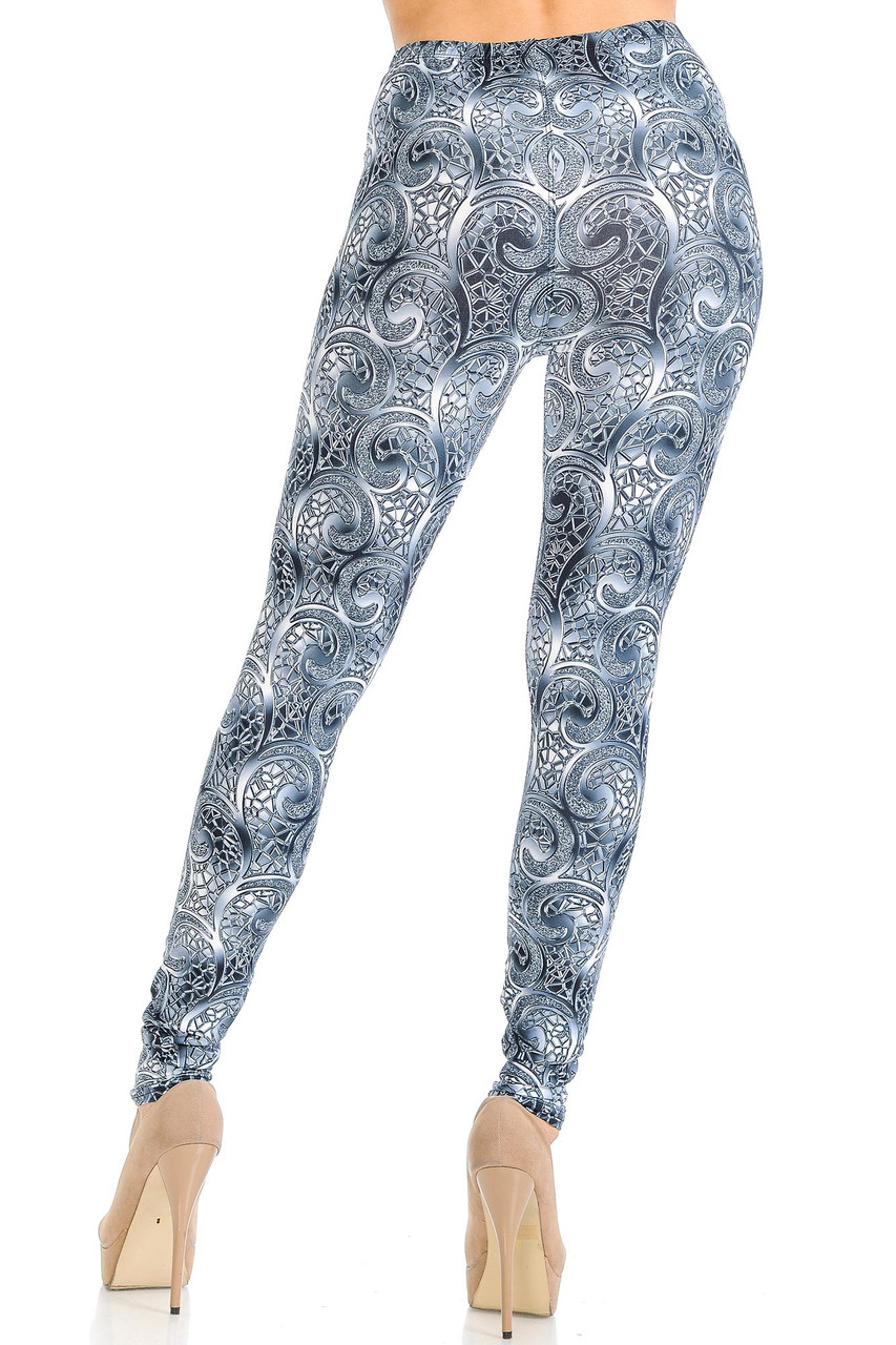Rear view of Creamy Soft Swirling Crystal Glass Leggings - USA Fashion™ showing off a flattering body hugging fit.