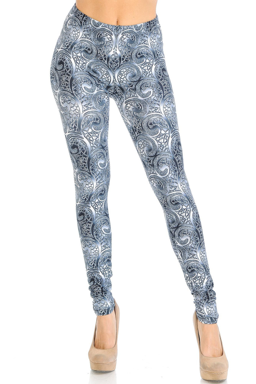 Front view of our full length skinny leg Creamy Soft Swirling Crystal Glass Leggings - USA Fashion™ that pairs with a op of any color.