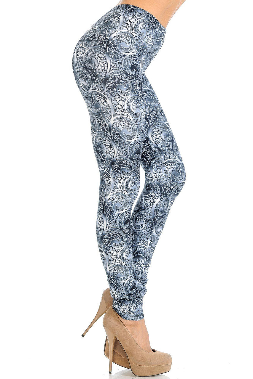 Right side of Creamy Soft Swirling Crystal Glass Leggings - USA Fashion™
