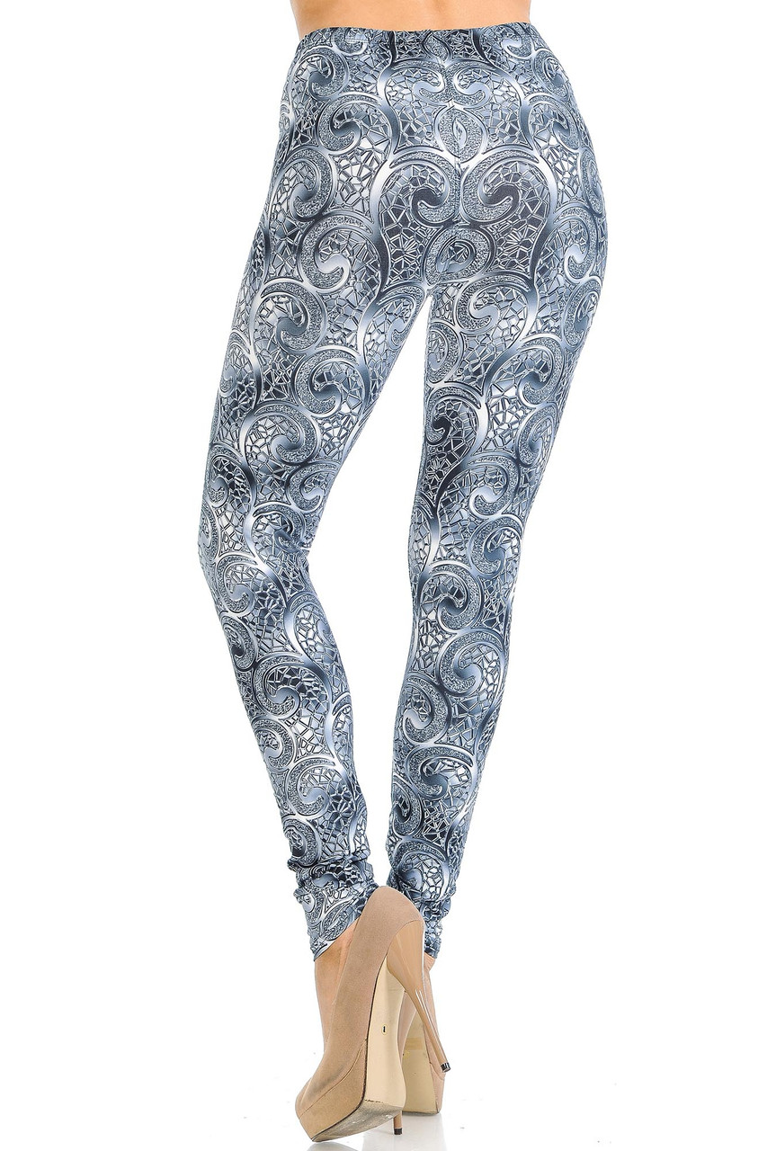Back view of Creamy Soft Swirling Crystal Glass Leggings - USA Fashion™ showing the continued 360 degree print.