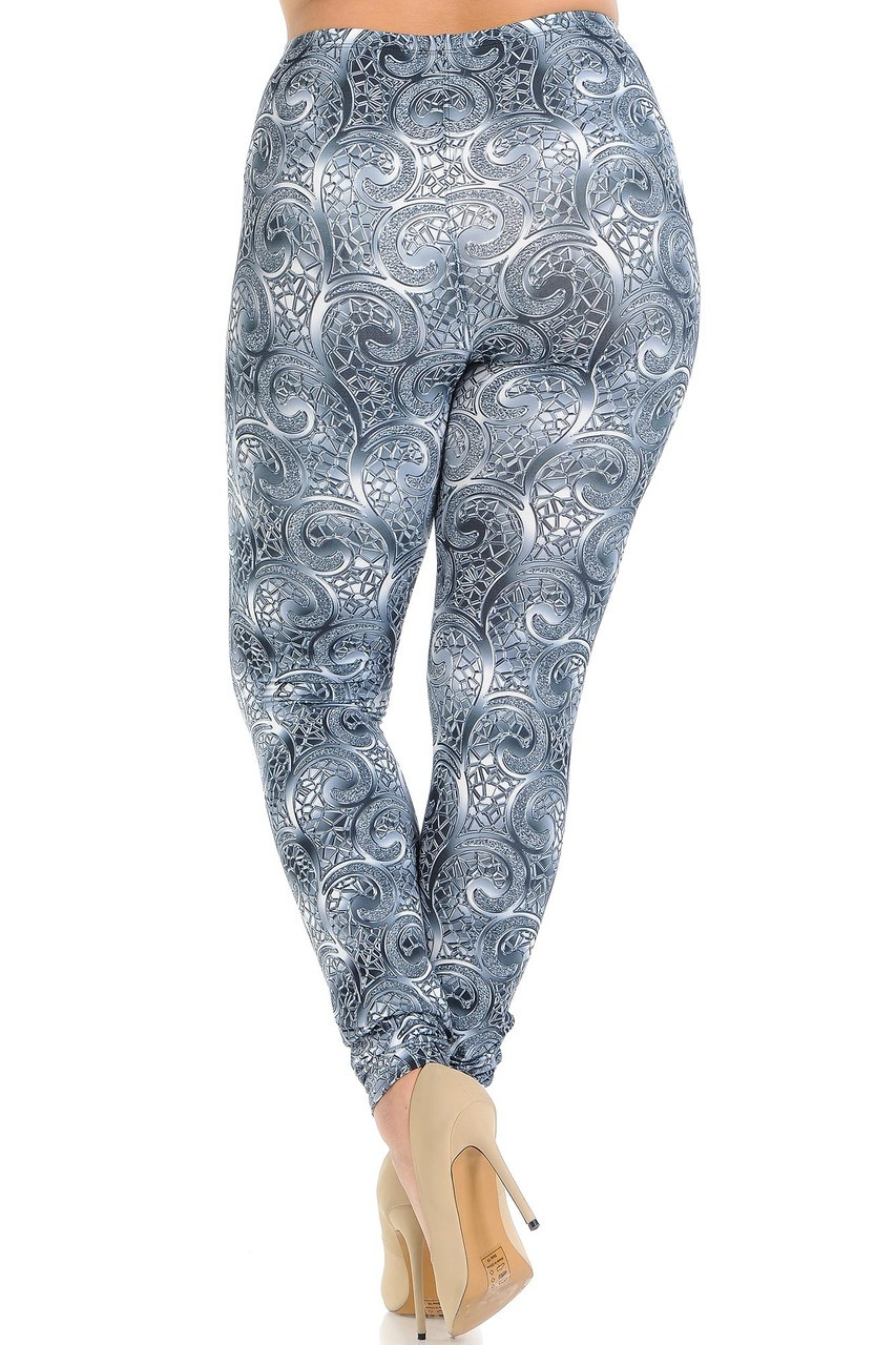 Rear view of Creamy Soft Swirling Crystal Glass Plus Size Leggings - USA Fashion™ showing off a flattering body hugging fit.