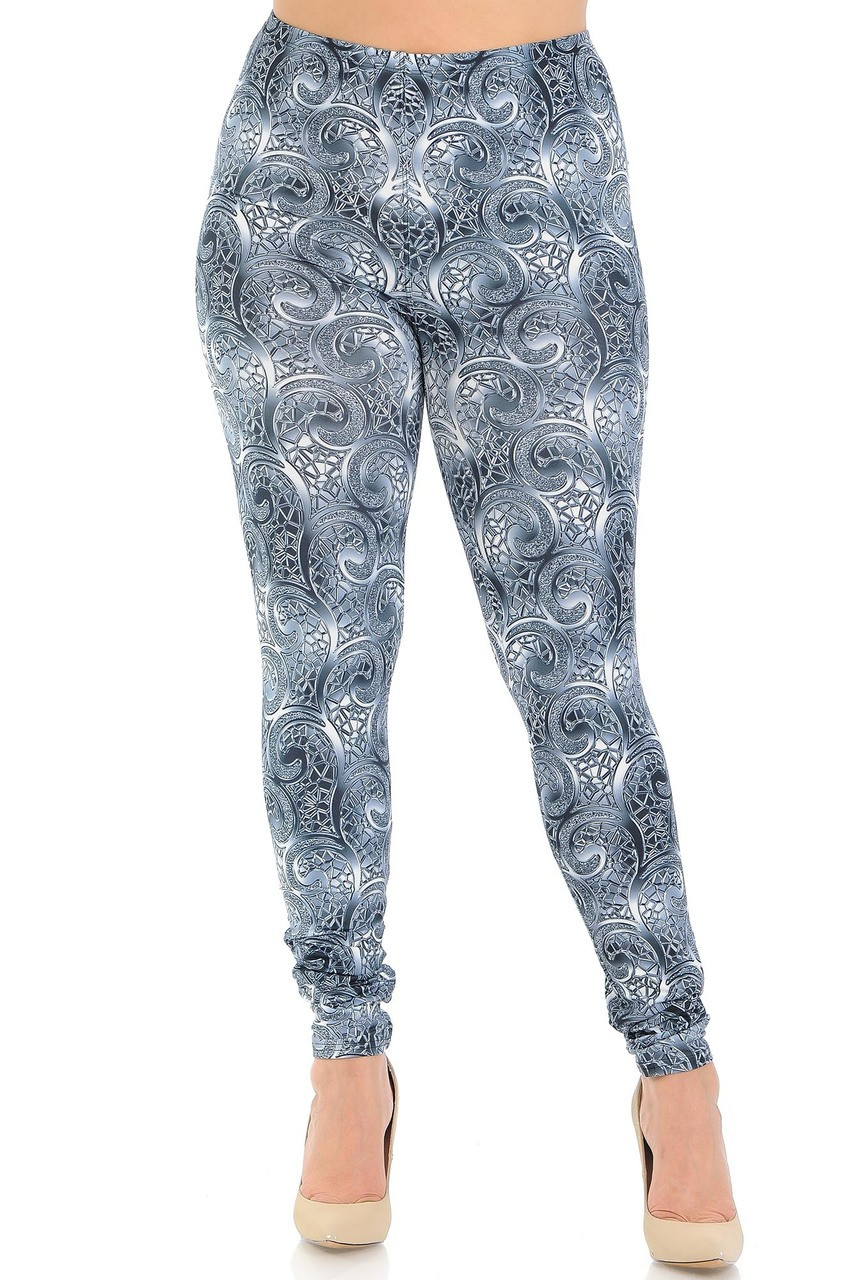 Front view of our full length skinny leg Creamy Soft Swirling Crystal Glass Plus Size Leggings - USA Fashion™ that pairs with a op of any color.