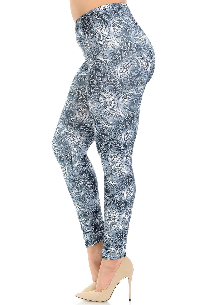 Left side of Creamy Soft Swirling Crystal Glass Plus Size Leggings - USA Fashion™