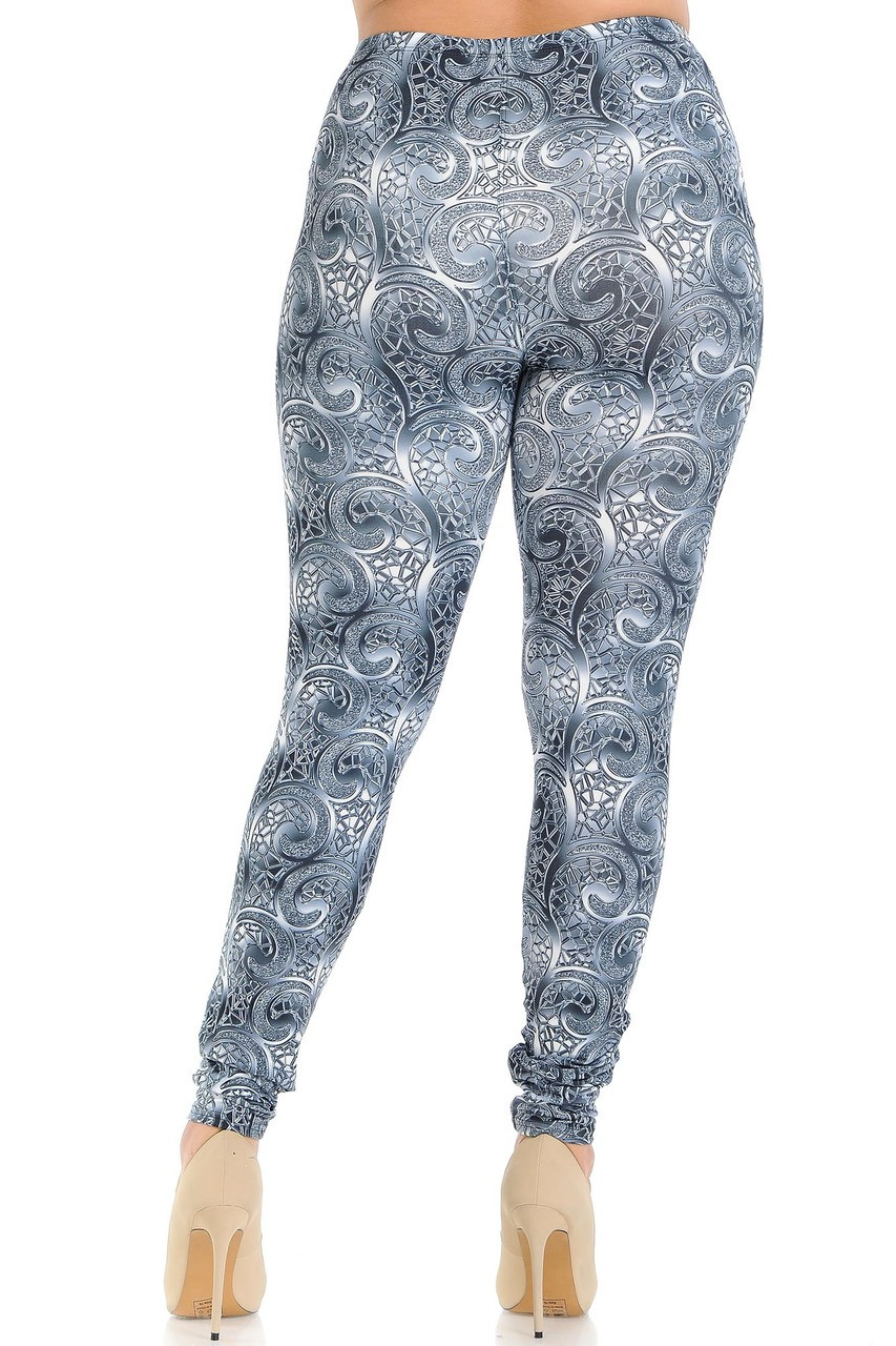 Back view of Creamy Soft Swirling Crystal Glass Plus Size Leggings - USA Fashion™ showing the continued 360 degree print.