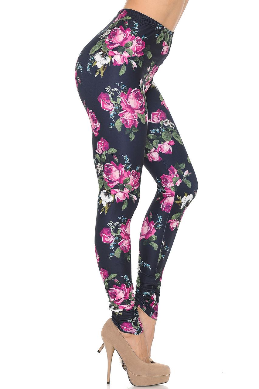 Right side of Creamy Soft Fuchsia Rose Extra Small Leggings - USA Fashion™