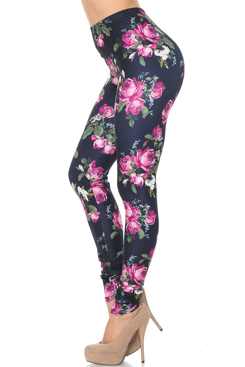 Left side of Creamy Soft Fuchsia Rose Extra Small Leggings - USA Fashion™