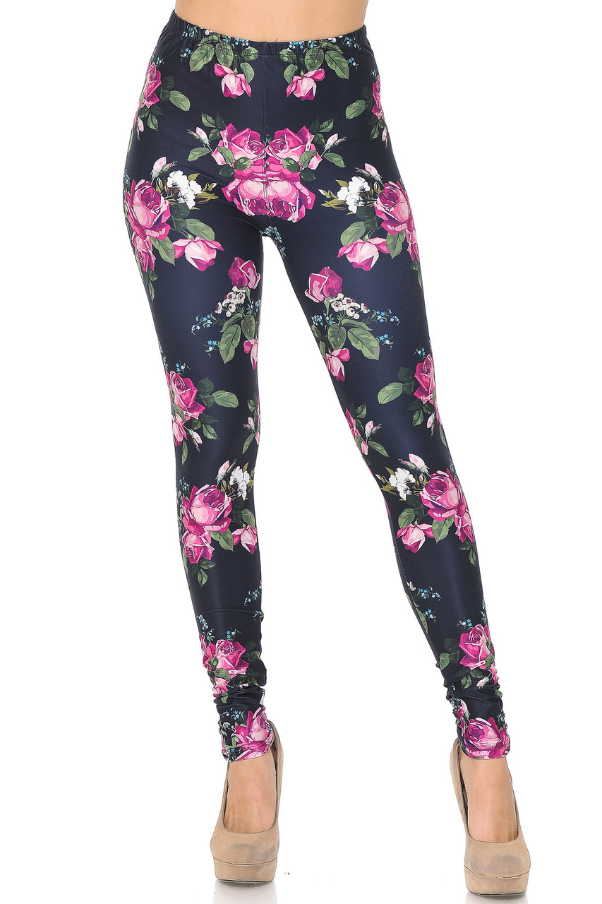 Front view of our full length skinny leg Creamy Soft Fuchsia Rose Leggings  - USA Fashion™.