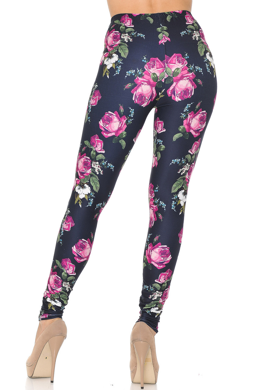 Rear view of our body hugging Creamy Soft Fuchsia Rose Leggings  - USA Fashion™ with a gorgeous floral design that is suitable for any season of the year.