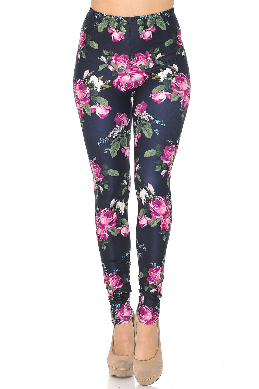 Front view of our Creamy Soft Fuchsia Rose Leggings -  USA Fashion™ with a mid rise elastic waist.