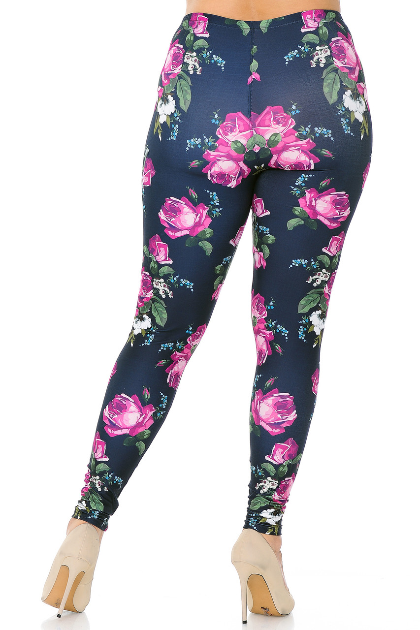 Rear view of our body hugging Creamy Soft Fuchsia Rose Extra Plus Size Leggings - 3X-5X - USA Fashion™ with a gorgeous floral design that is suitable for any season of the year.