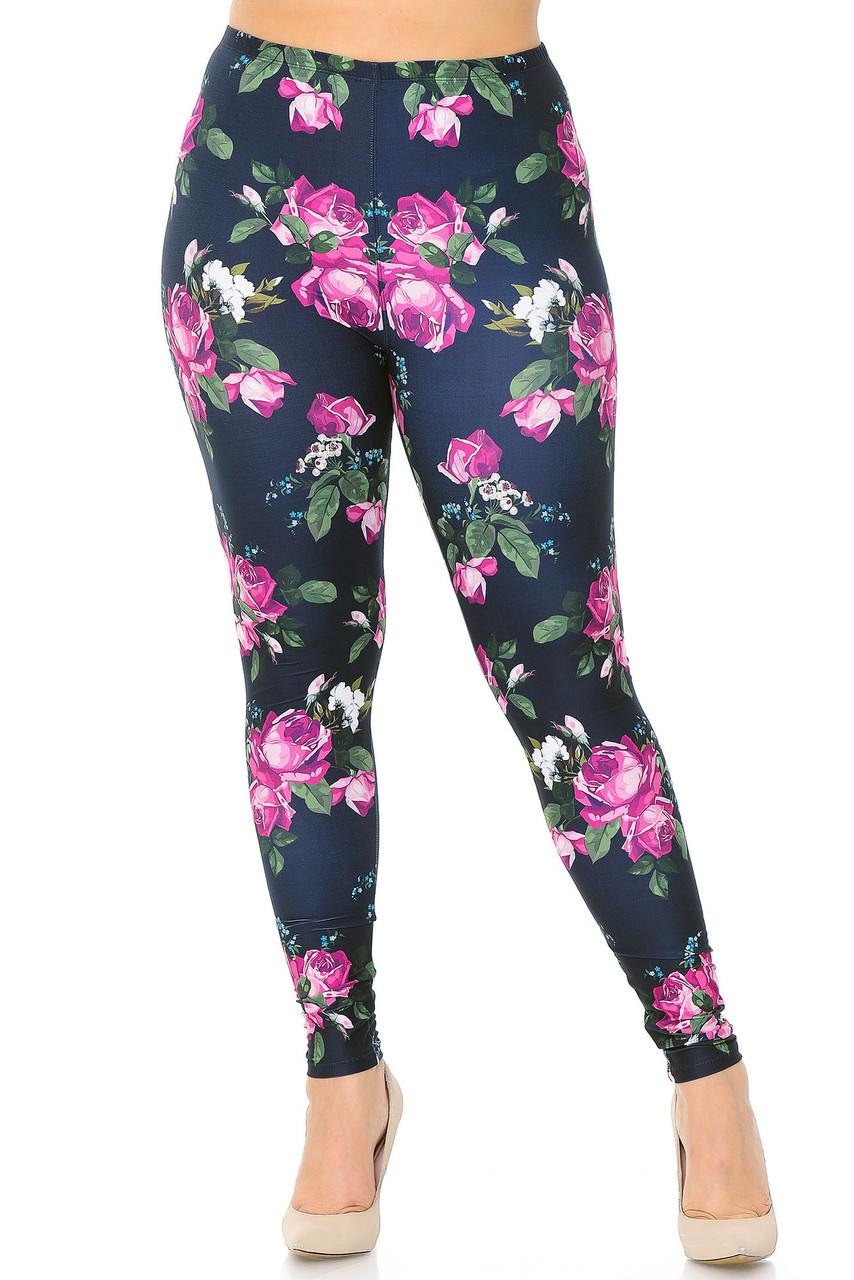 Front view of our full length skinny leg Creamy Soft Fuchsia Rose Extra Plus Size Leggings - 3X-5X - USA Fashion™.