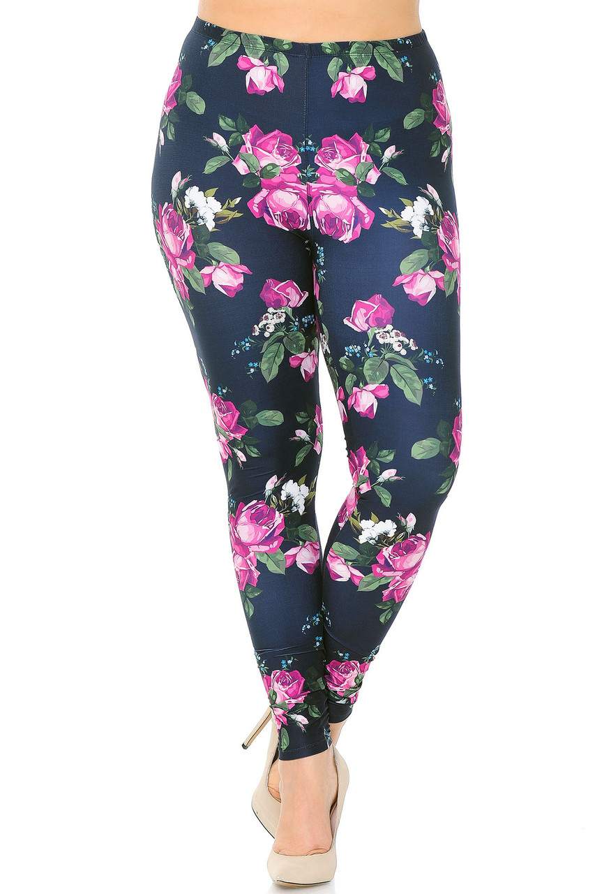 Front view of our Creamy Soft Fuchsia Rose Extra Plus Size Leggings - 3X-5X - USA Fashion™ with a mid rise elastic waist.