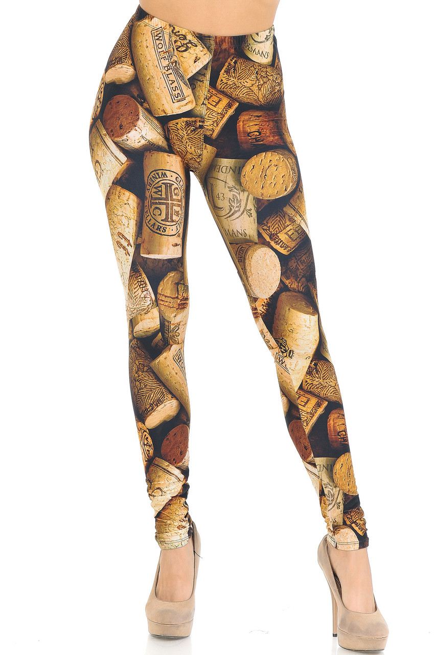 Front view of Creamy Soft Wine Cork Extra Small Leggings  - USA Fashion™, great for parties or sassy casual looks.