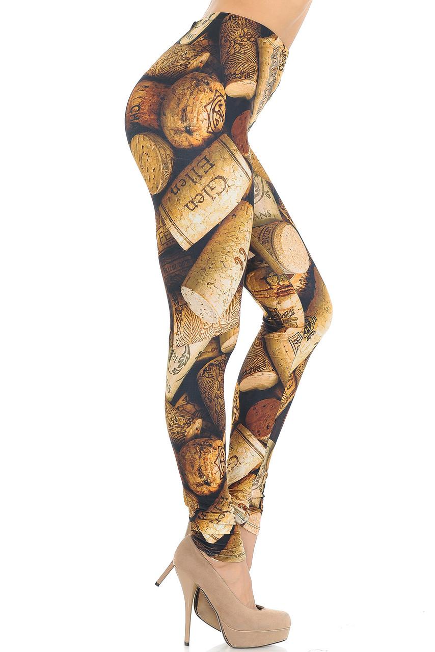 Right side of Creamy Soft Wine Cork Extra Small Leggings - USA Fashion™