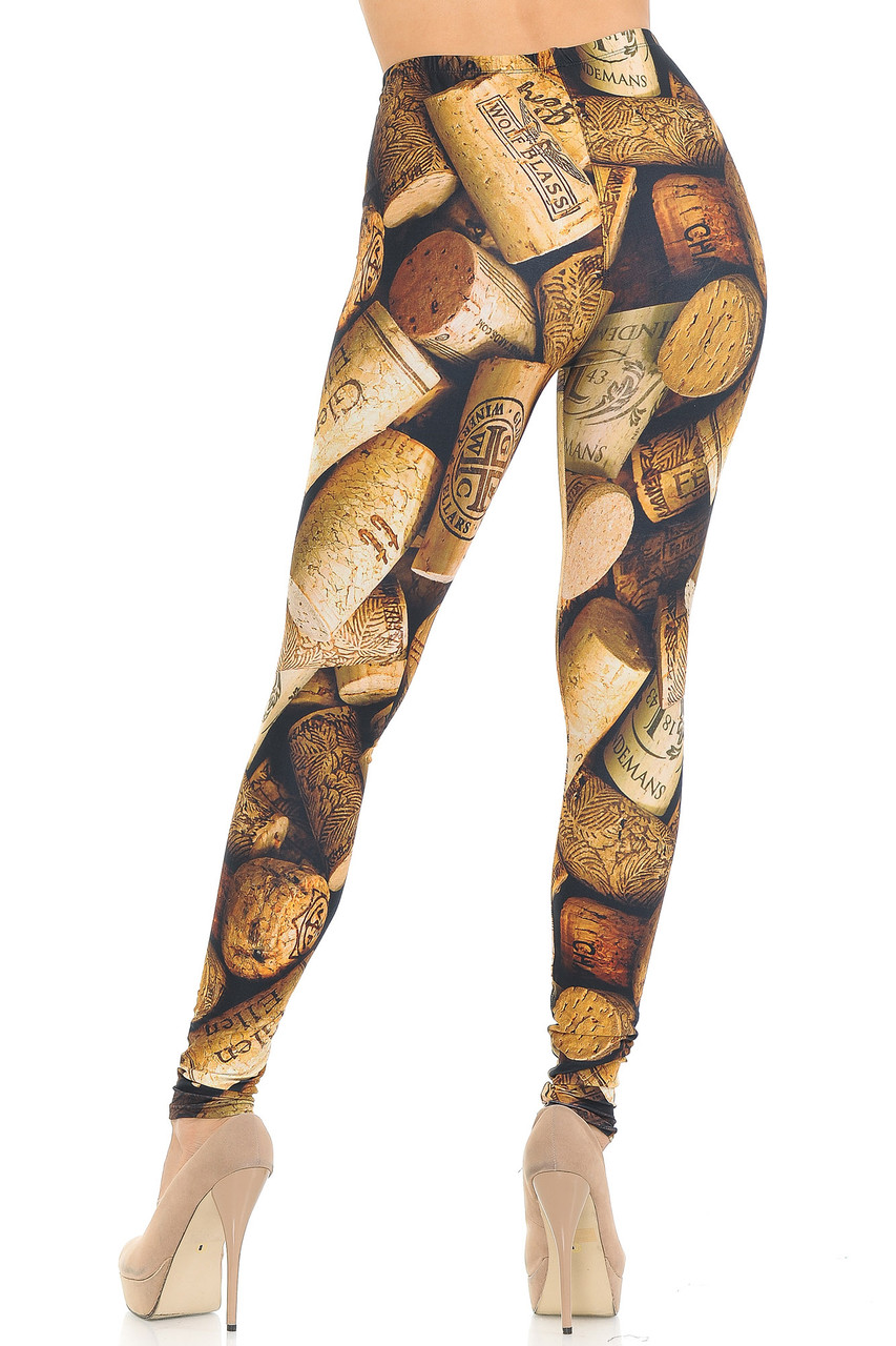 Rear view of our figure flattering body fitted Creamy Soft Wine Cork Leggings  - USA Fashion™ with a brown toned design that will pair easily with most tops, but teams best with a simple black or white blouse or tee.