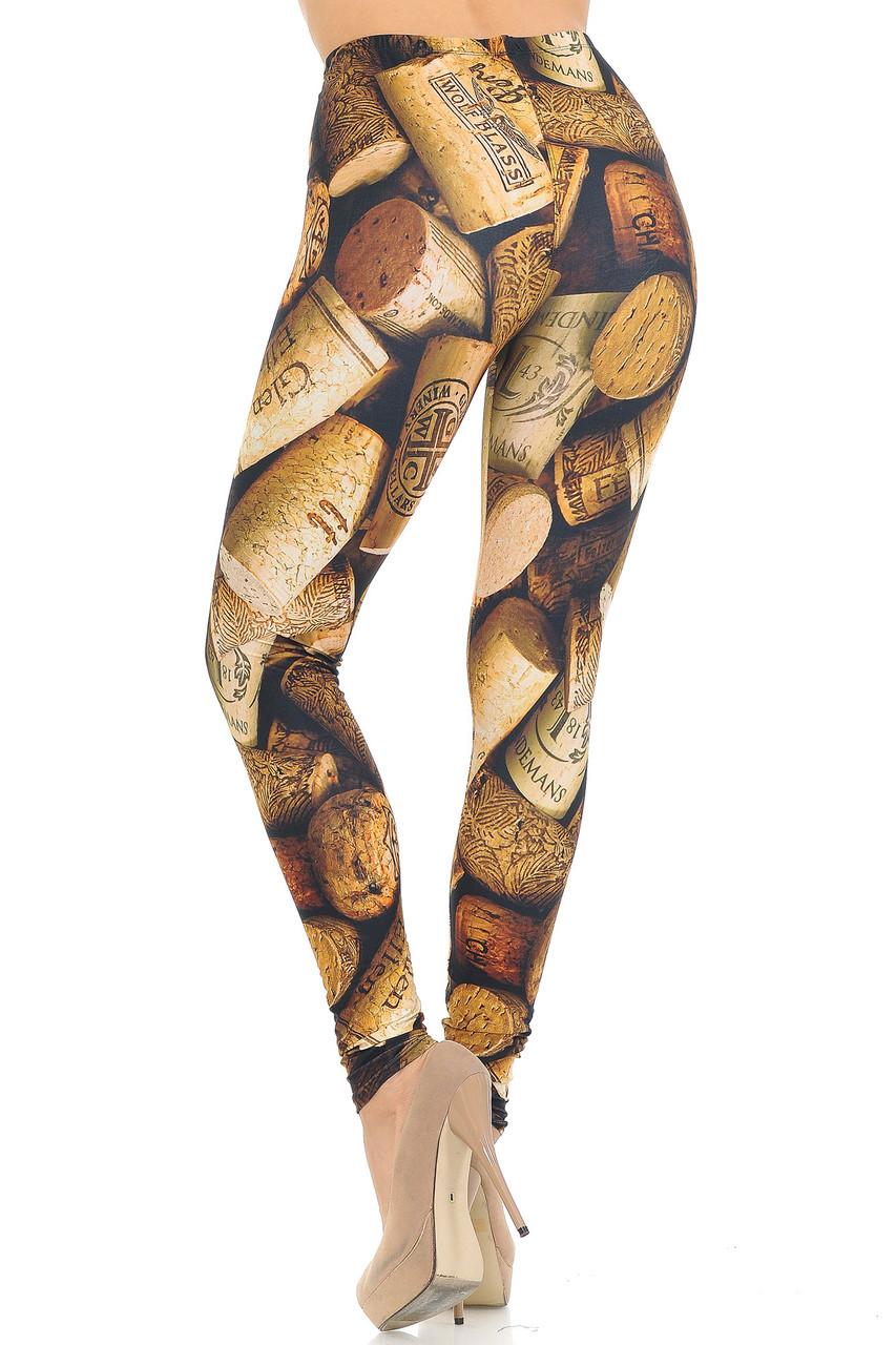 Back view of Creamy Soft Wine Cork Leggings - USA Fashion™