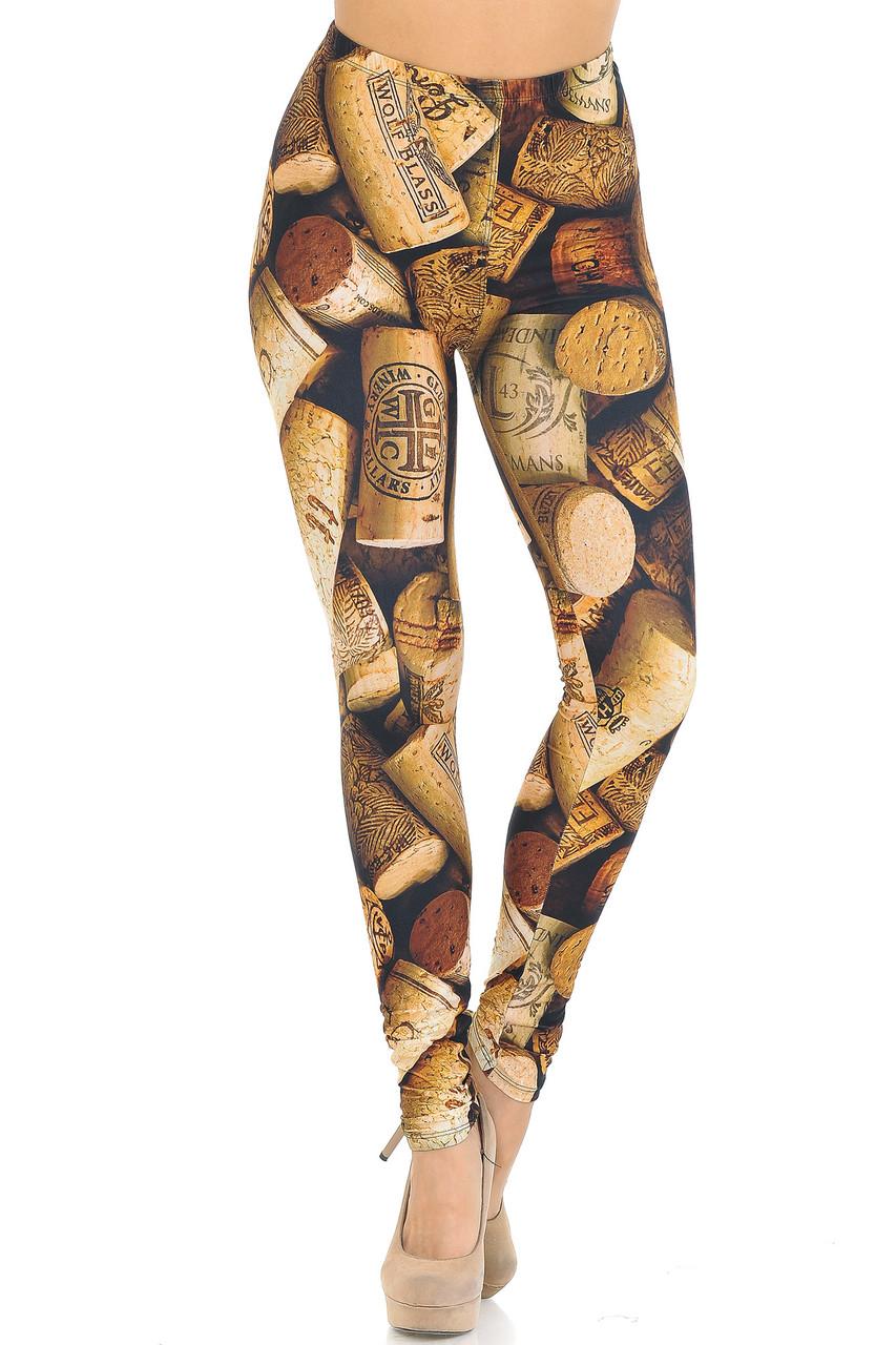 Our mid rise Creamy Soft Wine Cork Leggings - USA Fashion™ features a comfortable elastic waistband.