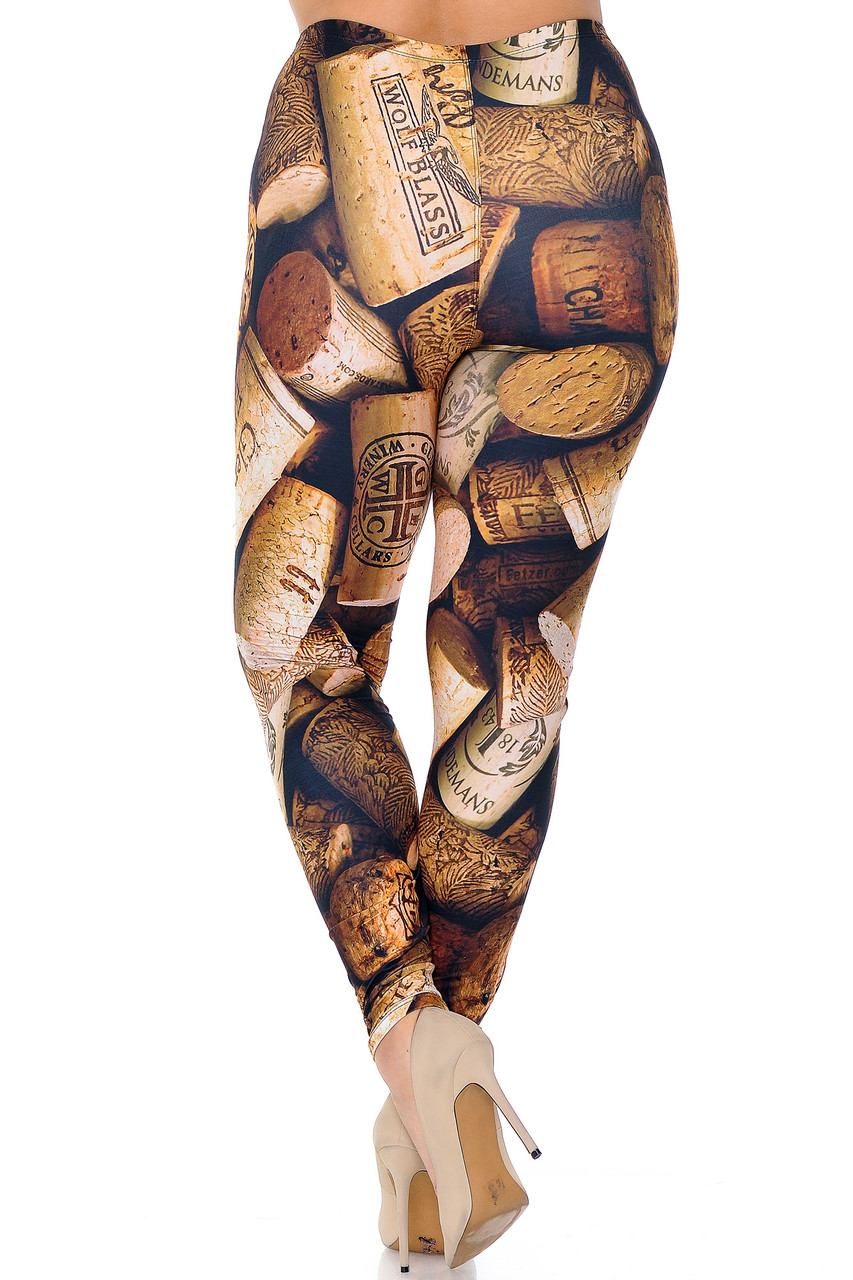 Rear view of our figure flattering body fitted Creamy Soft Wine Cork Plus Size Leggings  - USA Fashion™ with a brown toned design that will pair easily with most tops, but teams best with a simple black or white blouse or tee.