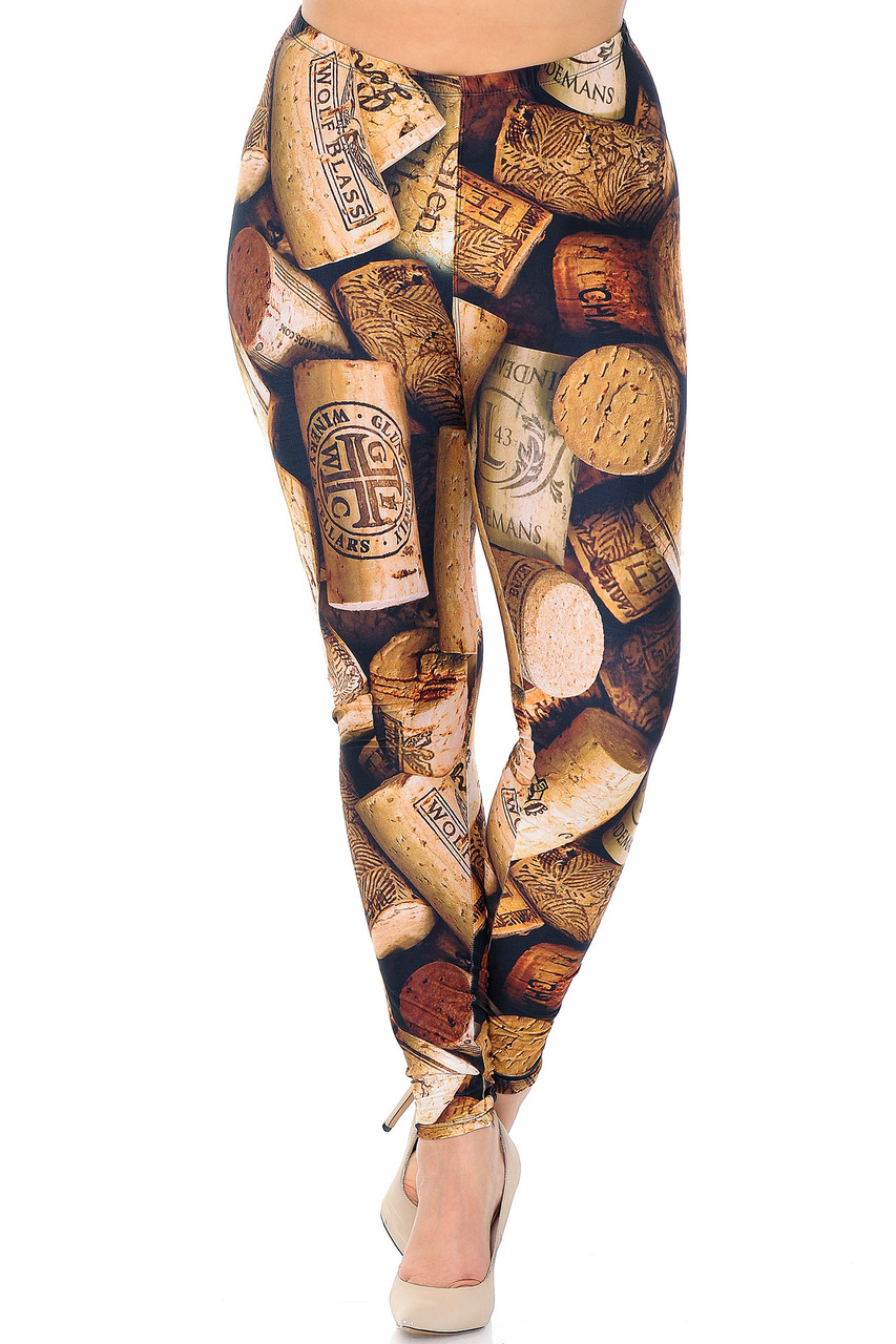 Front view of Creamy Soft Wine Cork Plus Size Leggings  - USA Fashion™, great for parties or sassy casual looks.
